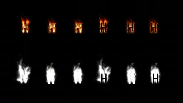 Burning font with alpha channel. Four difference type of fire. Letters and digits. Letter H