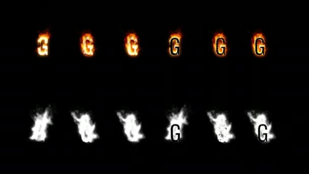 Burning font with alpha channel. Four difference type of fire. Letters and digits. Letter G