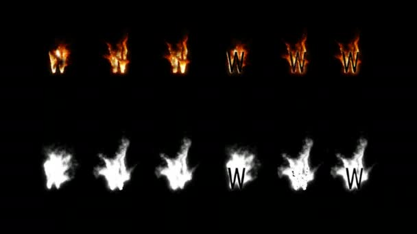 Burning font with alpha channel. Four difference type of fire. Letters and digits. Letter W