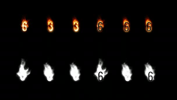 Burning font with alpha channel. Four difference type of fire. Letters and digits. Six