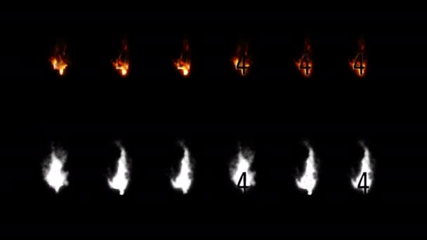 Burning font with alpha channel. Four difference type of fire. Letters and digits. Four