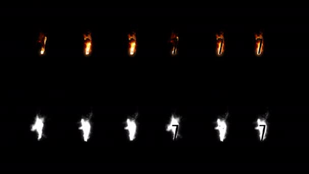 Burning font with alpha channel. Four difference type of fire. Letters and digits. Seven