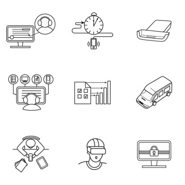set of icons for mobile virtual reality