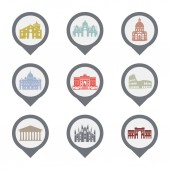 Photo Set of Italy symbols, landmarks in black and white. Vector illustration. Rome, Venice, Milan, Italy