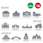 Photo Set of Italy symbols, landmarks in gray color. Vector illustration. Venice, Milan,Italy, Rome