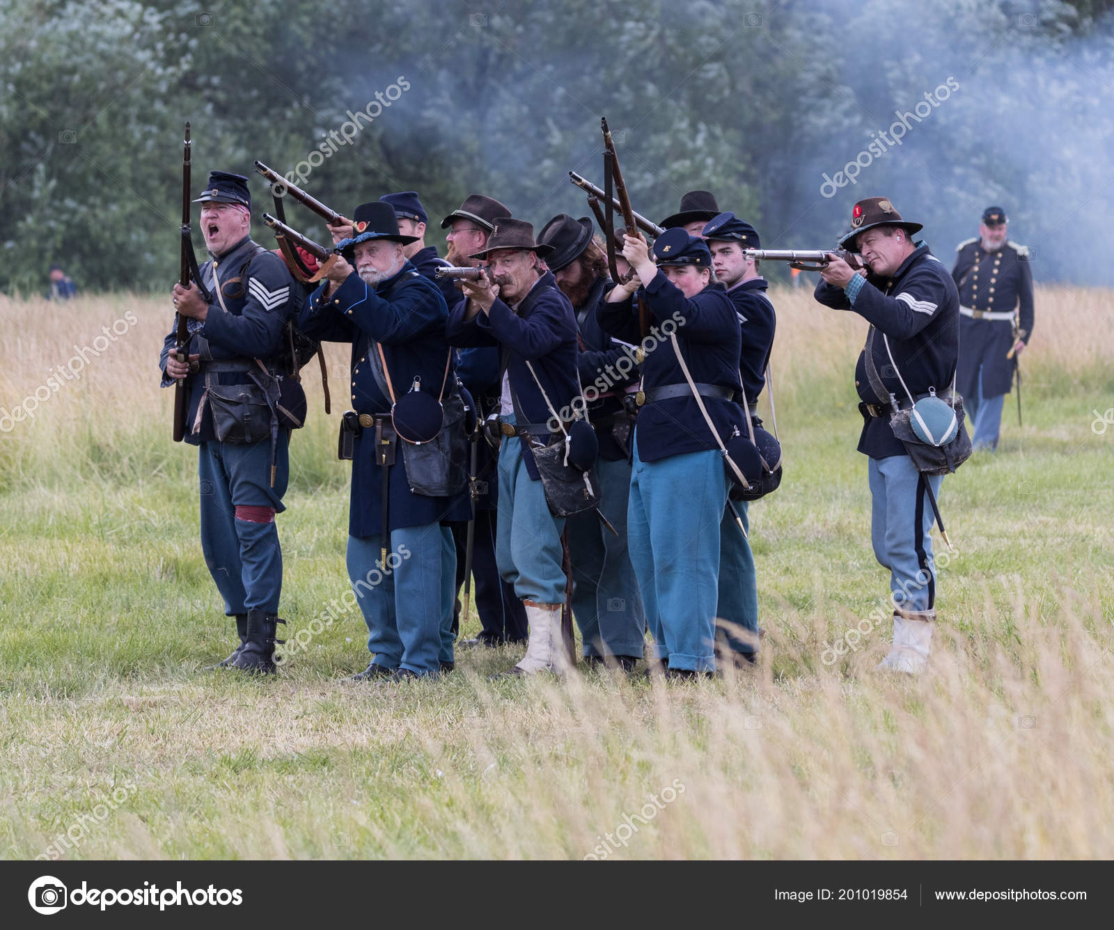 American Civil War Reenactment Soldiers Fight Combat