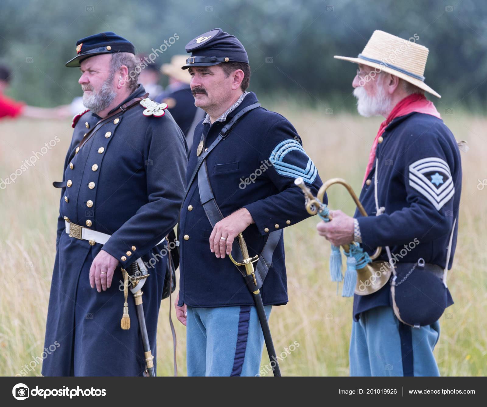 American Civil War Reenactment Officers Watch Battle