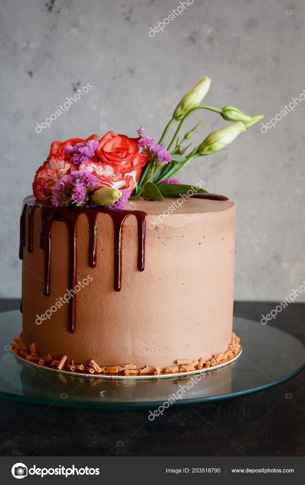 Kuchen Schokoladenglasur Mit Mascarpone Creme Und Dekoriert Mit