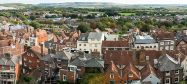 England landscape panorama of Lewes Castle, East Sussex county town in topview. The old vintage historical for visit, travel, learn and sightseeing.