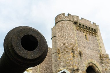 The old vintage of big black cannon at Lewes Castle, East Sussex county town. The old vintage historical for visitor, and traveler.