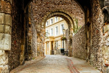 The entrance and walkway outside of the Lewes Castle & Gardens, East Sussex county town. The old vintage historical for visitor, traveler.