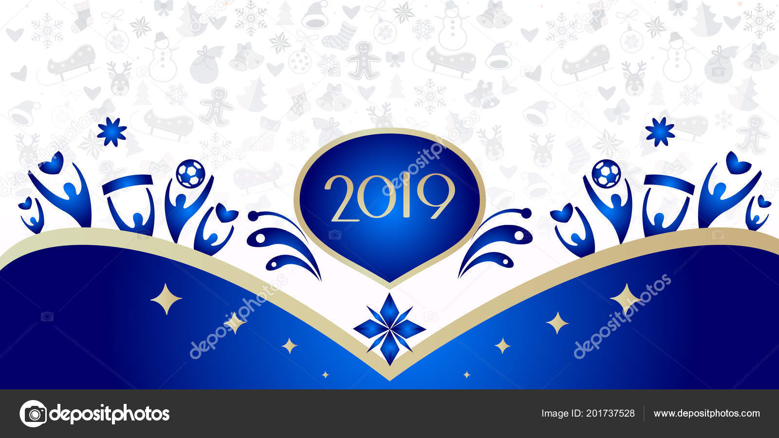 2019 happy new year event invitation fireworks festival pattern with decorative elements stars ball abstract holiday shine starburst background