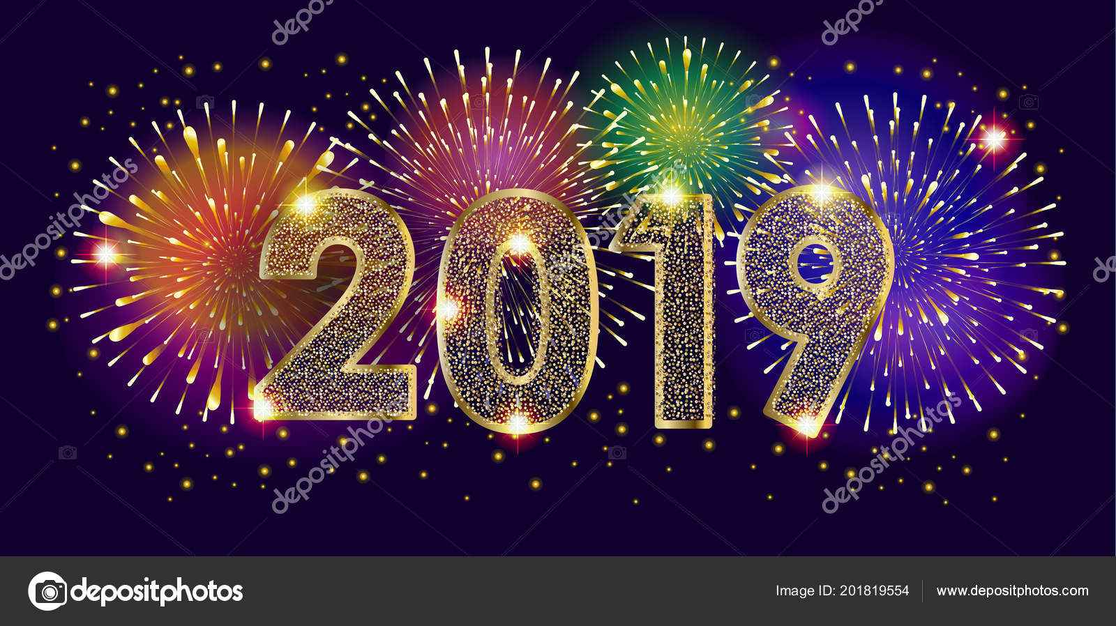 2019 fireworks festival happy new year decoration gold glitter starburst stock vector