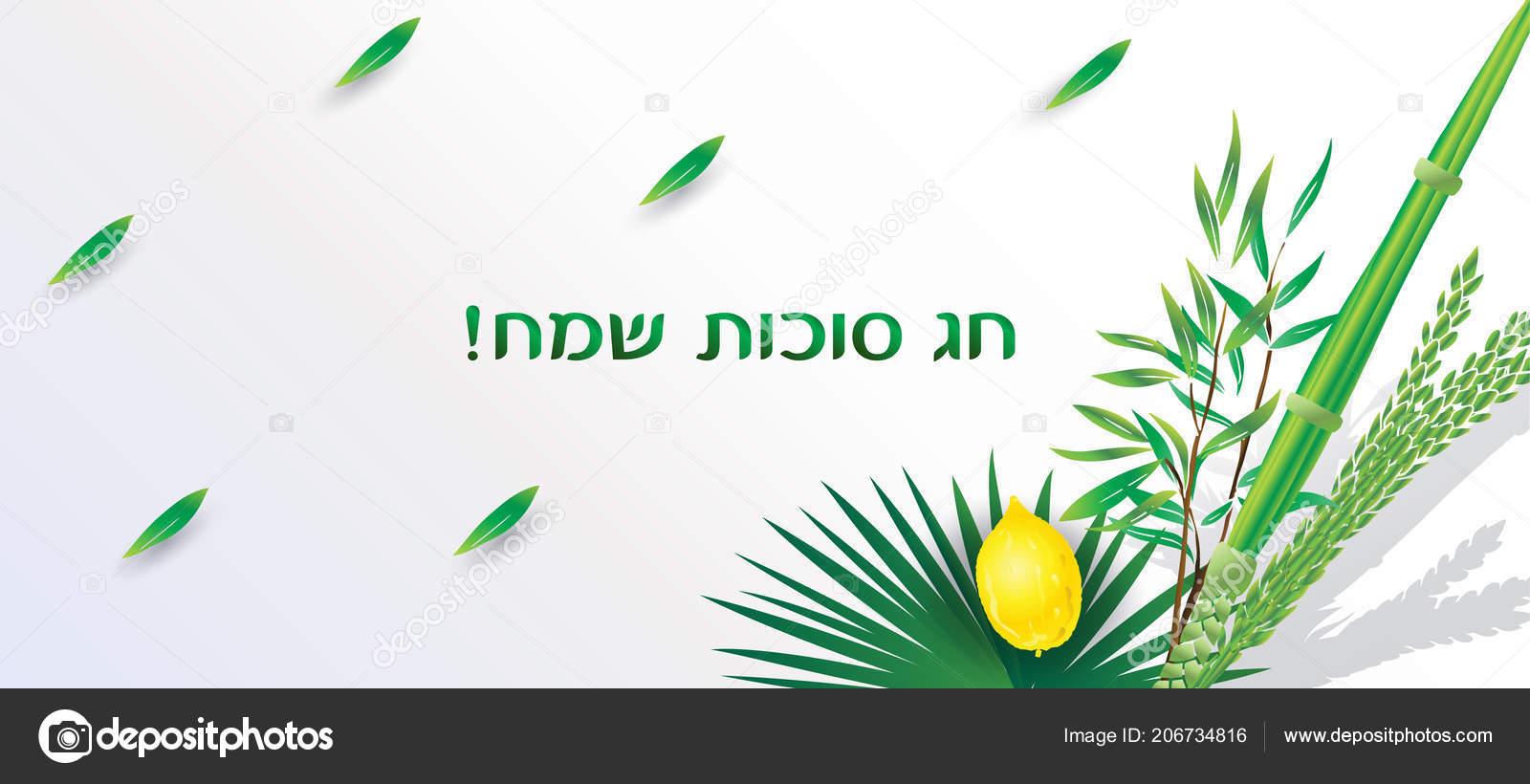 Happy Sukkot Festival Hebrew Text Greeting Card Lulav Etrog Shofar