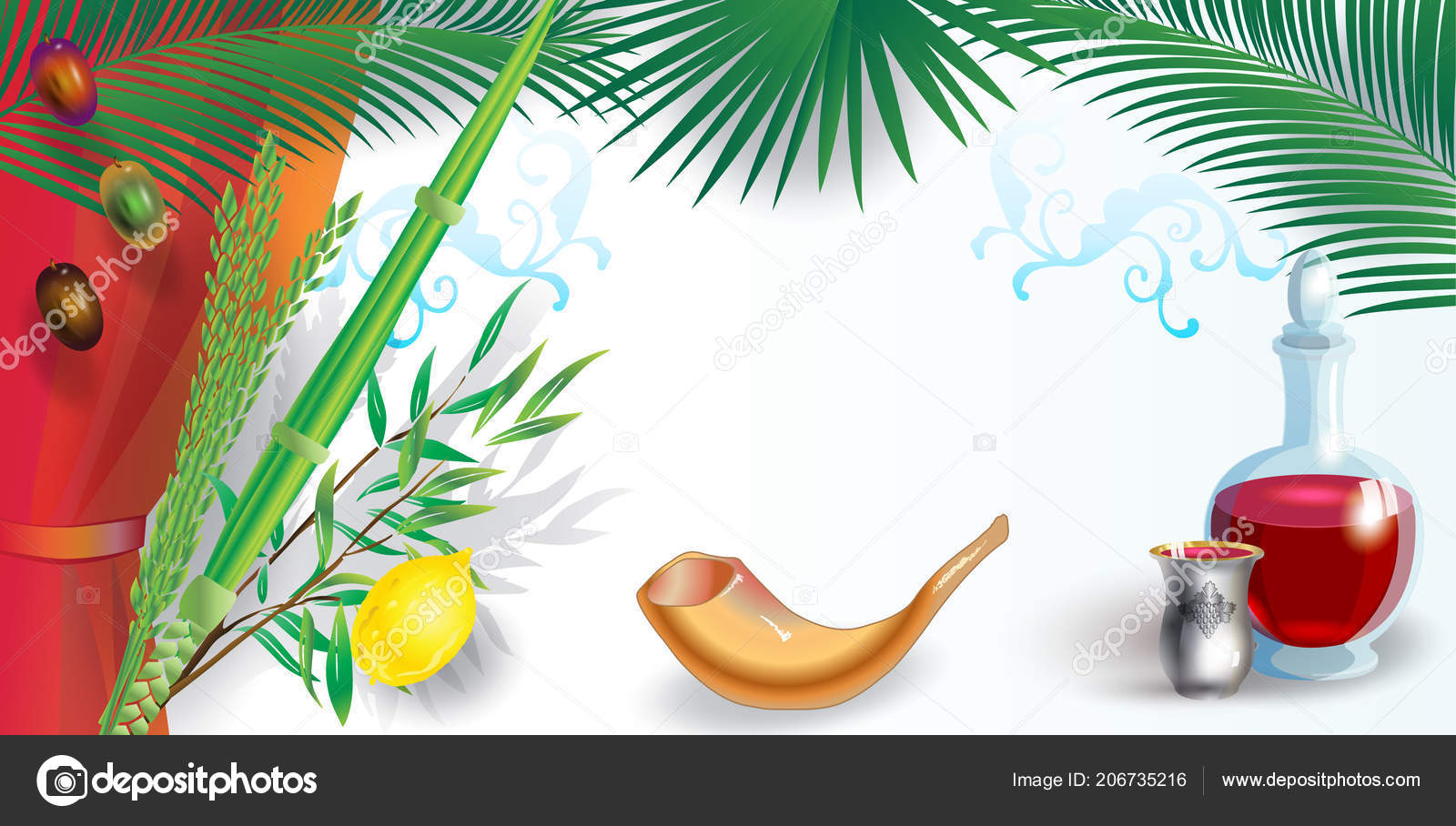 Happy Sukkot Festival Greeting Card Frame Lulav Etrog Shofar Palm