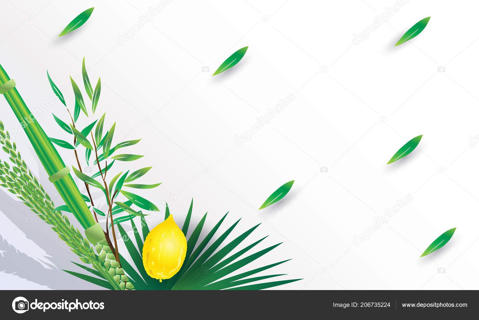 Happy Sukkot Festival Greeting Card Frame Lulav Etrog Shofar Palm