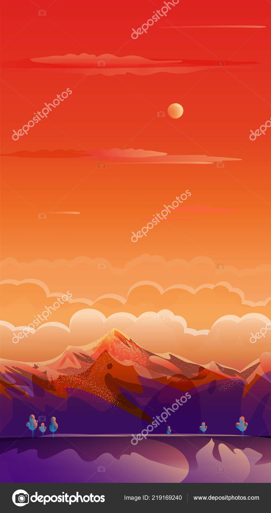 Sunset Summer Rocky Mountain Landscape Drawing Travel Voyage