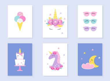 Kids Slumber and Summer Party Invites. Unicorns and Moon. Vector Design
