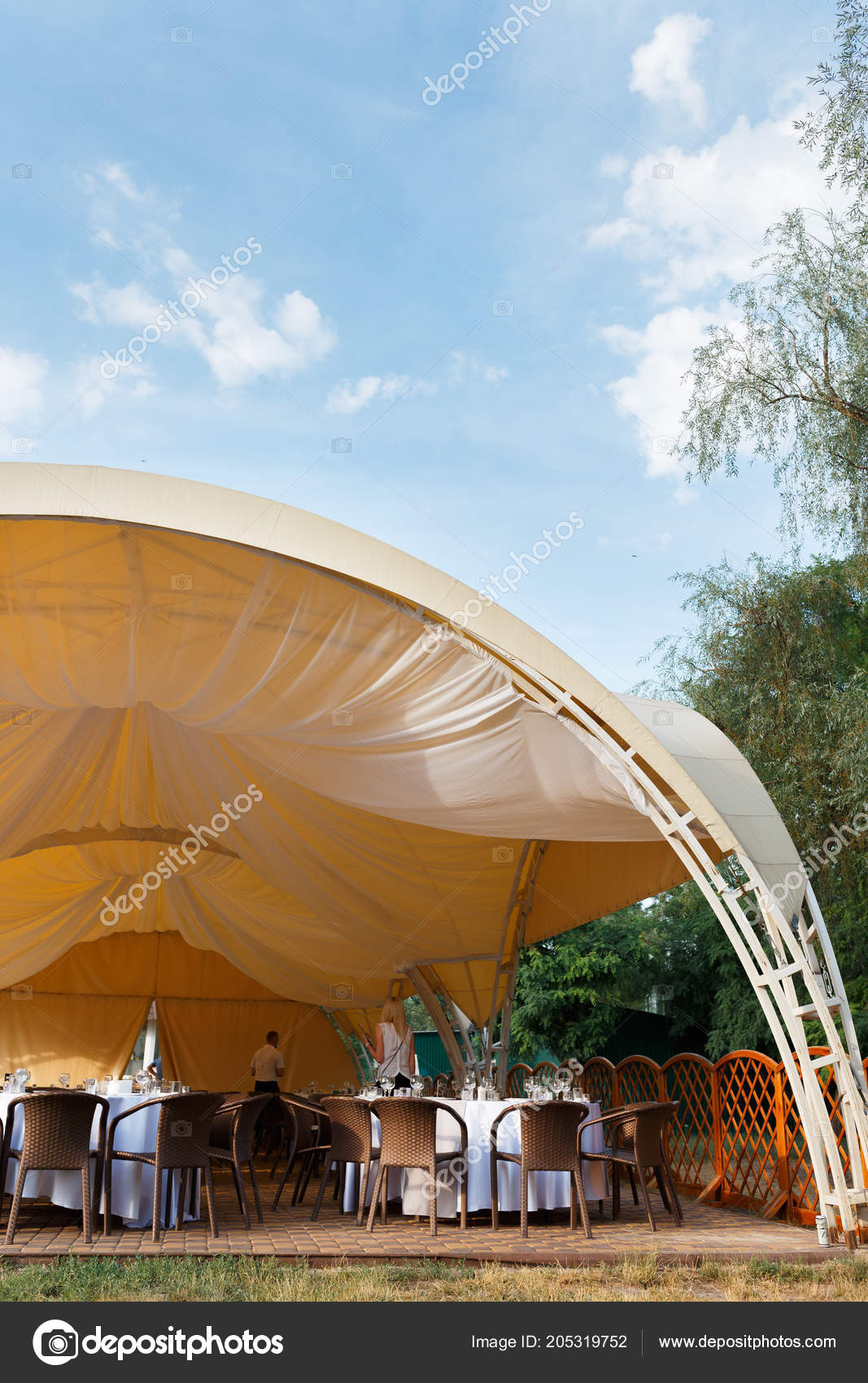 Outdoor Wedding Reception In Tent Stock Photo Y