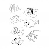 Fényképek Tropic coral fish coloring pages on the white background. Vector illustration