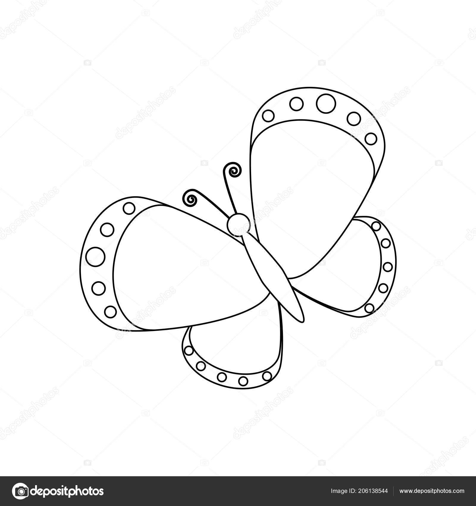 Kelebek Boyama Sayfaları Beyaz Arka Plan üzerinde Vektör çizim