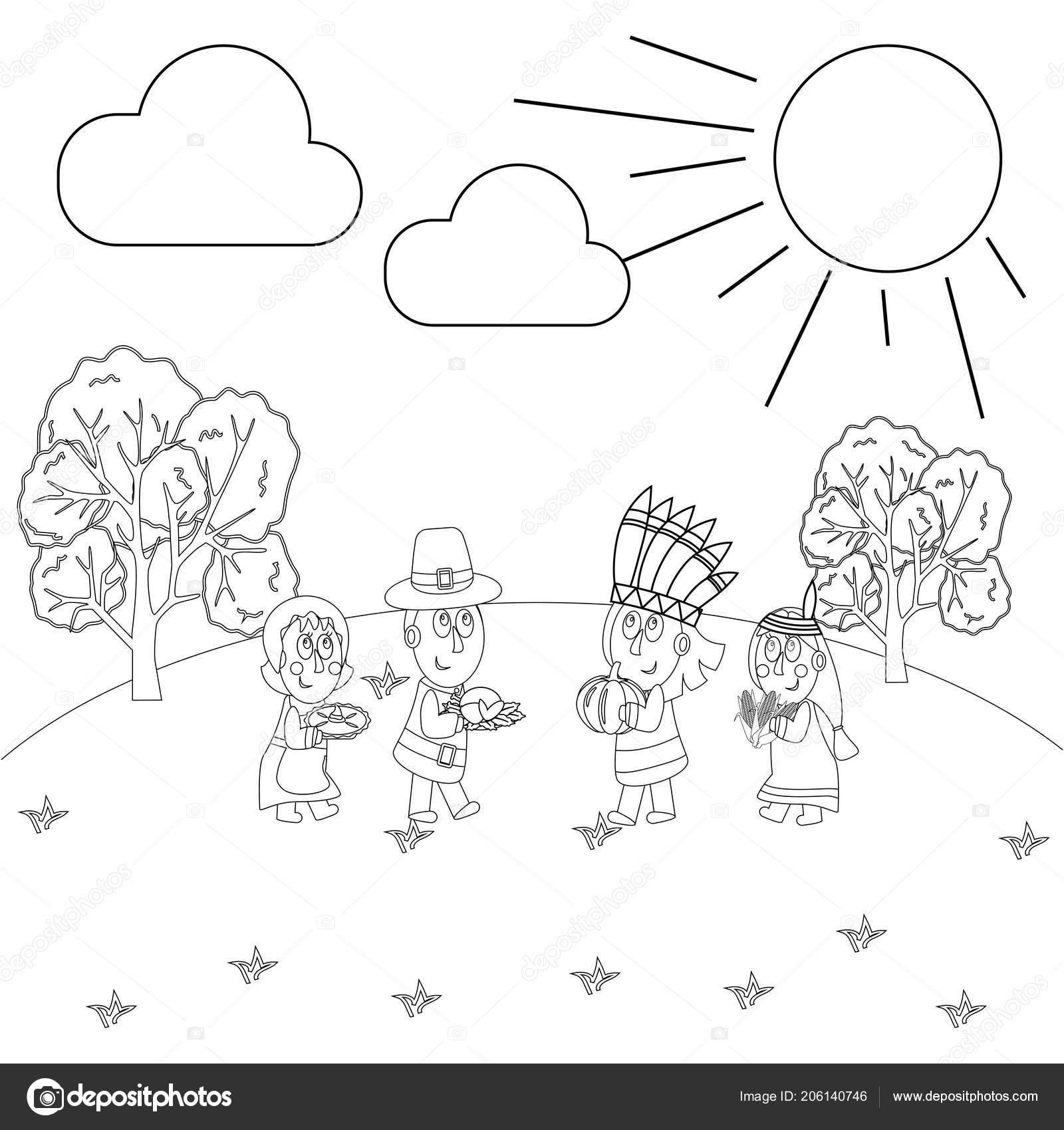 Día Acción Gracias Para Colorear Página Sobre Fondo Blanco