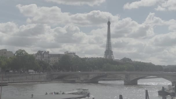 View of Eifel tower, American Church in Paris, Invalides Bridge, pleasure boat