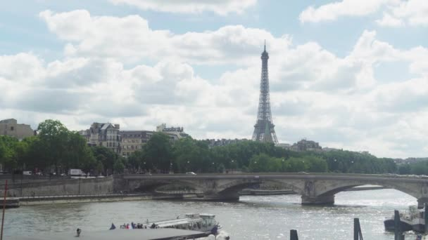 View of Eifel tower, American Church in Paris, Invalides Bridge, pleasure boat