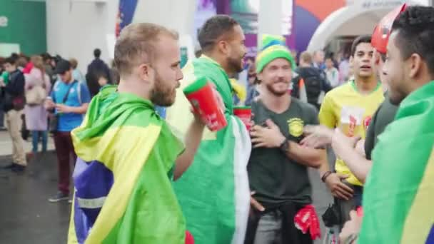 Wrap themselves with flags brazil fans greet each other emotionally wrap themselves with flags brazil fans greet each other emotionally stock video m4hsunfo