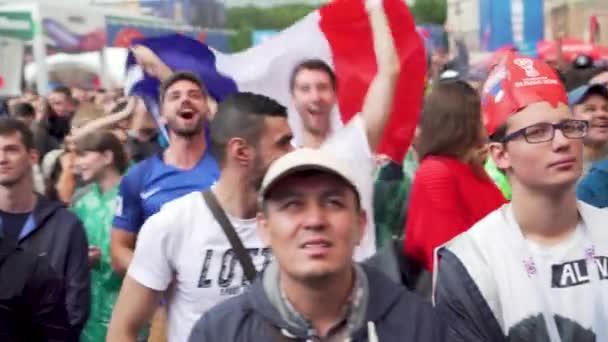 Francese Multunational folla di tifosi festanti, la partita Francia - Uruguay, zona tifosi