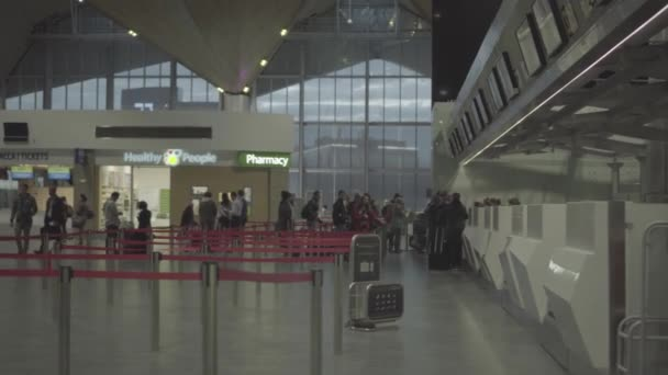 People in line to check-in counter, early morning in Pulkovo airport