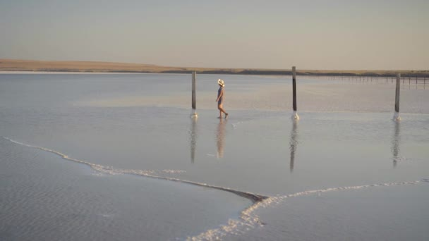 Slim sexy girl enjoying sunset, walks between wooden salt pillars of a salt lake