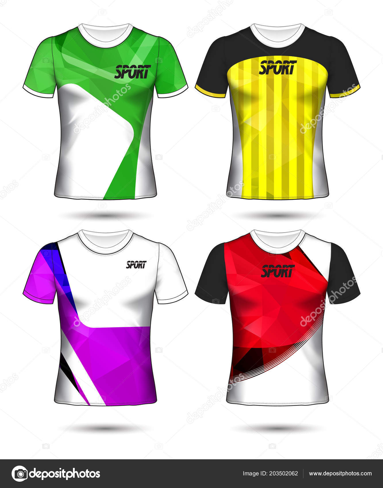 Set Soccer Football Jersey Template Shirt Style Design Your Stock Vector