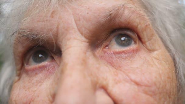 Keresi fel öreg nagymama portréja. Közelről egy idős nő, ráncok, körülöttük szemében