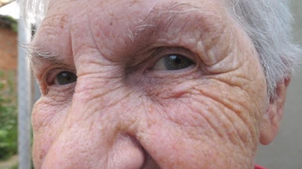 Ritratto di donna anziana felice sorridente ed esamina la macchina fotografica fuori. Chiudono il viso rugoso di nonna dai capelli grigi allaperto. Espressione facciale positiva della vecchia nonna. Slow motion