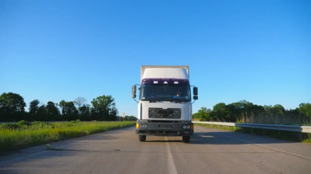 Vista frontale del camion con rimorchio merci che guida sullautostrada che trasporta merci durante il giorno destate. Camion bianco in sella attraverso la campagna con bellissimo paesaggio sullo sfondo. Vista frontale a movimento lento Close up