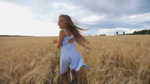 Folgen Sie dem niedlichen glücklichen Kind im Kleid, das durch das Weizenfeld läuft, sich der Kamera zuwendet und lächelt. Schöne Mädchen mit langen blonden Haaren joggen bei bewölktem Wetter über die Gerstenwiese. Zeitlupe