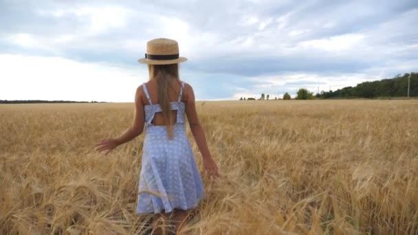 kleines Mädchen mit Strohhut, das durch das Weizenfeld geht, sich der Kamera zuwendet und lächelt. Nettes Kind mit langen blonden Haaren, das goldene Ähren berührt. Kleines Kind im Kleid geht über die Gerstenwiese