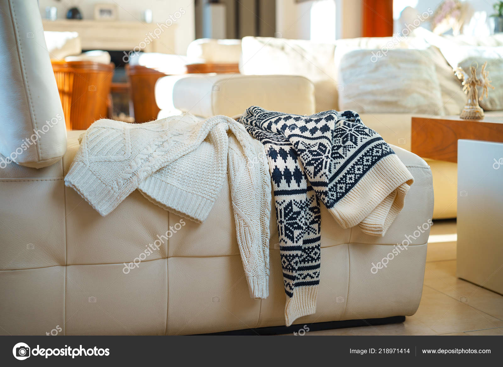 Admirable Warm Winter Knitted Sweaters Two People Dropped On Sofa Gmtry Best Dining Table And Chair Ideas Images Gmtryco