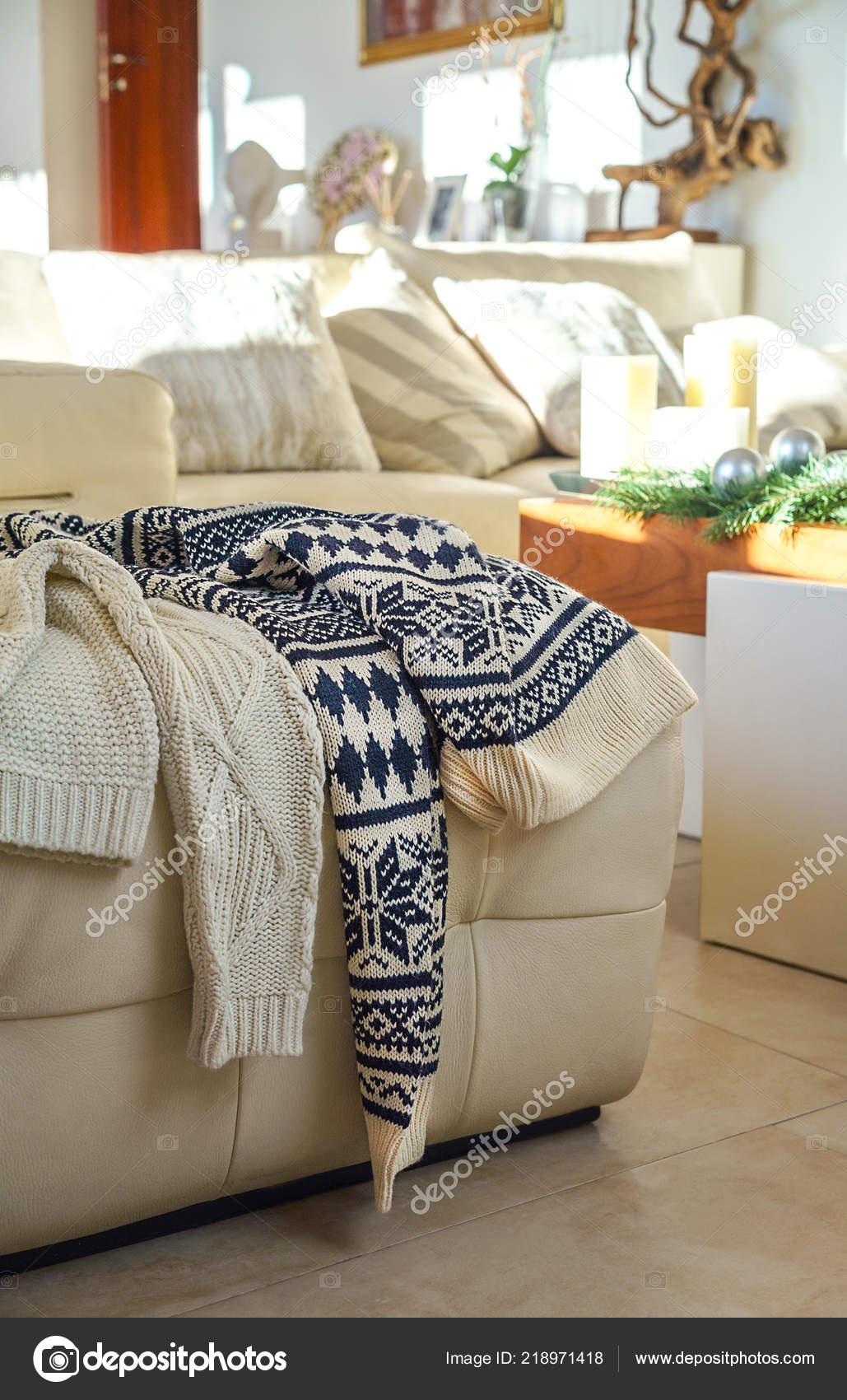 Tremendous Warm Winter Knitted Sweaters Two People Dropped On Sofa Gmtry Best Dining Table And Chair Ideas Images Gmtryco
