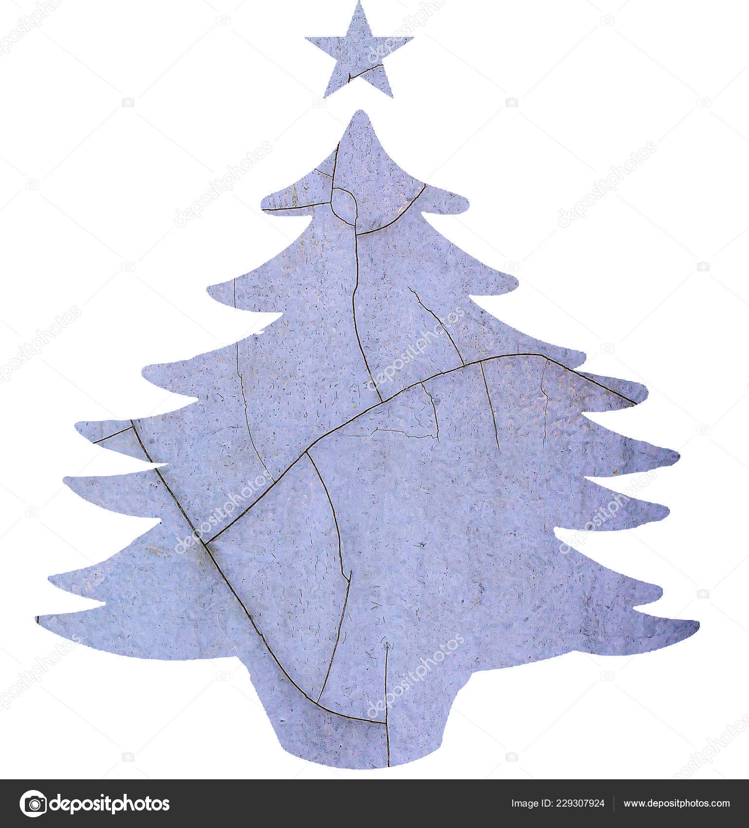 Christmas Tree Template Natural Texture Isolated White