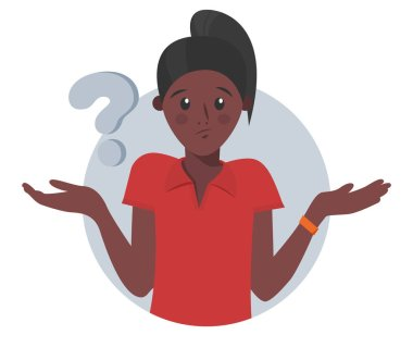 Cartoon pretty black girl doubts, thinks why. Woman with question mark. Vector illustration stock vector