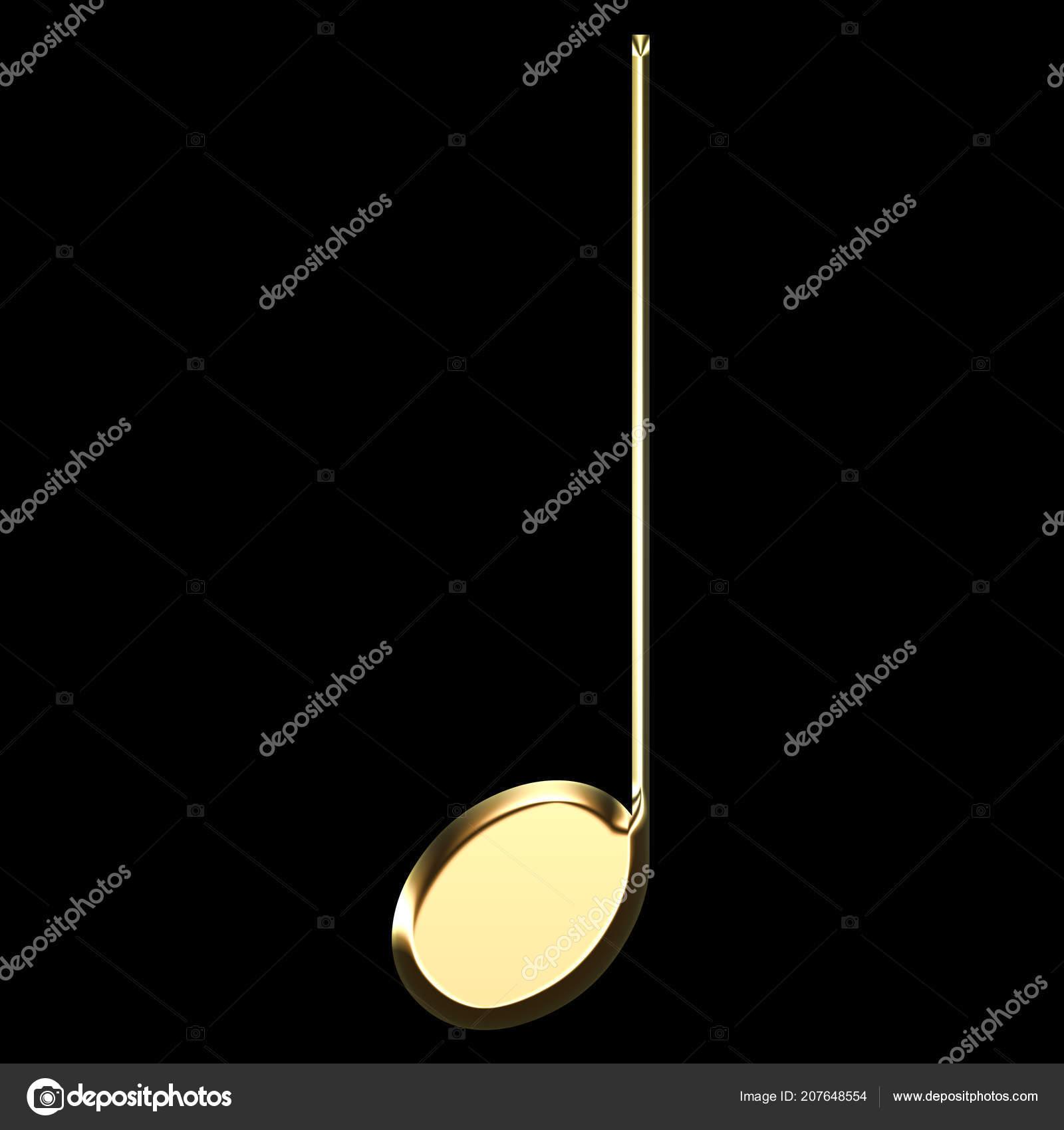 Golden Music Note Illustration Quarter Note Musical Symbol Black