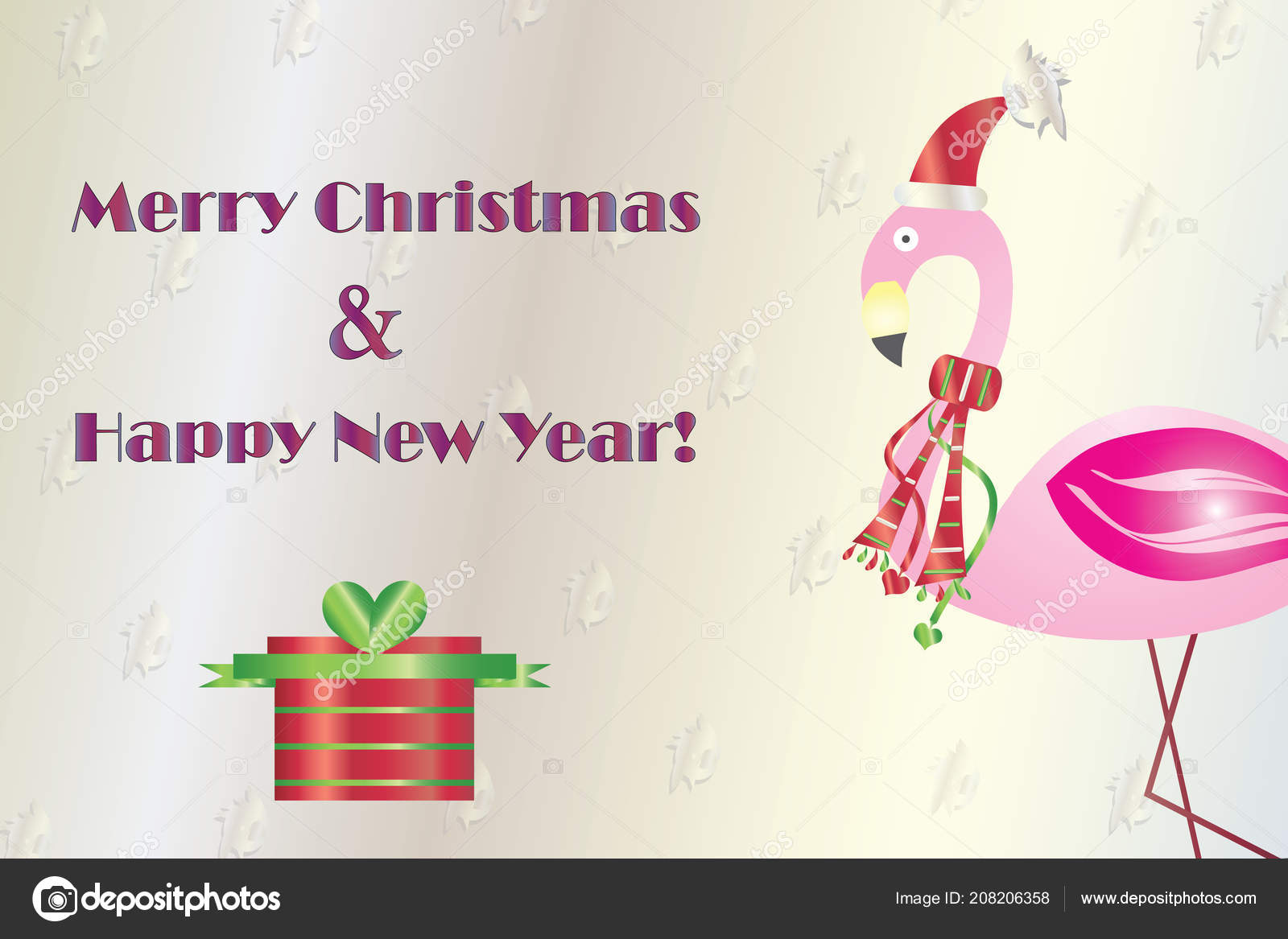 Merry Christmas Happy New Year Card Flamingo Vector Greeting Card ...