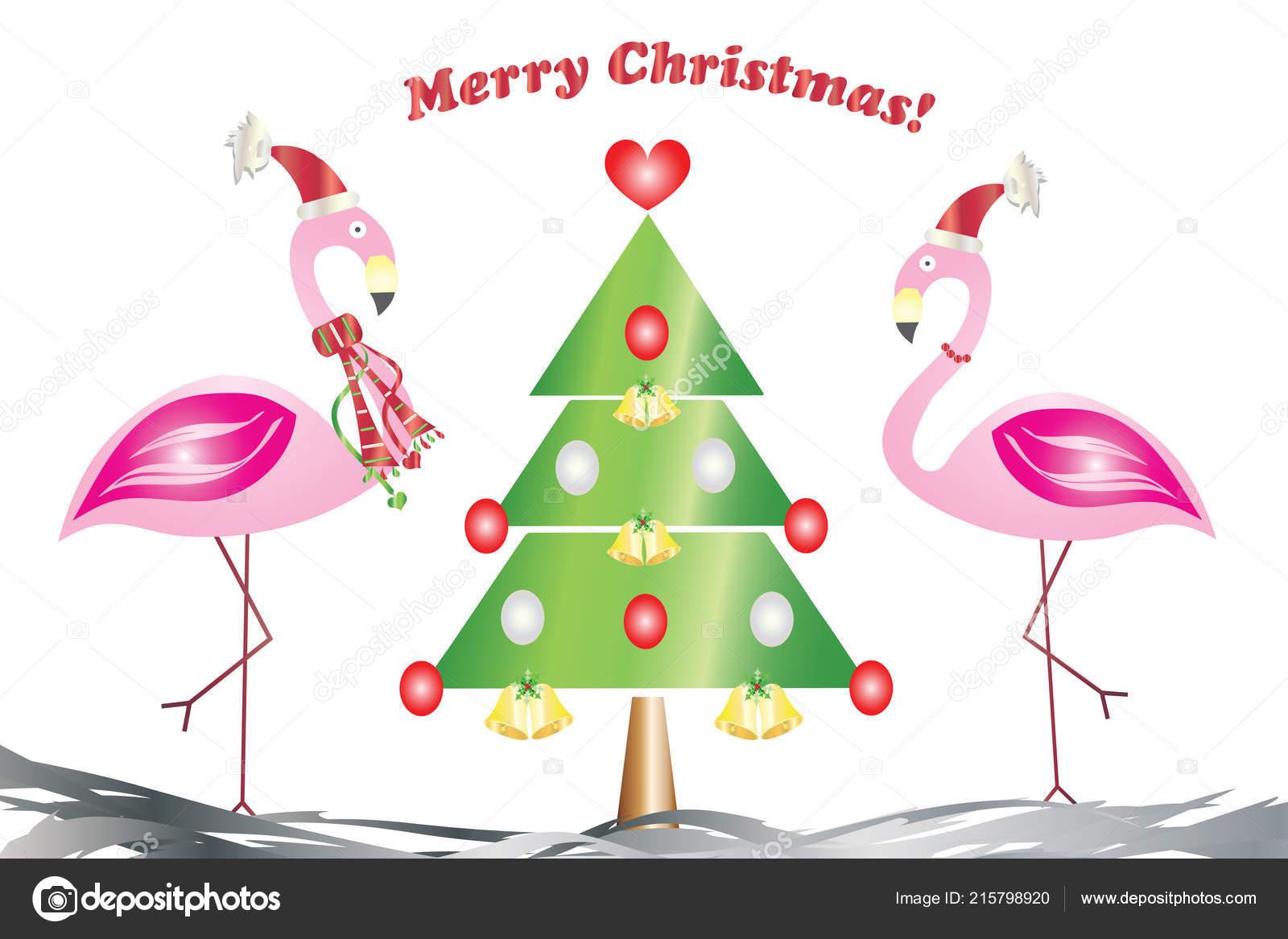 Carte Voeux Deux Flamants Amour Avec Vecteur Arbre Noël