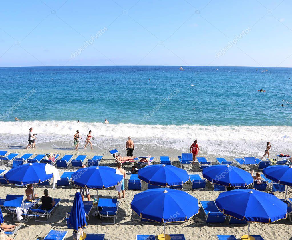 MONTEROSSO CINQUE TERRE ITALY, JUNE 01 2018: landscape of Spiaggia di Fegina beach at Monterosso village Cinque Terre Italy. Editorial use.