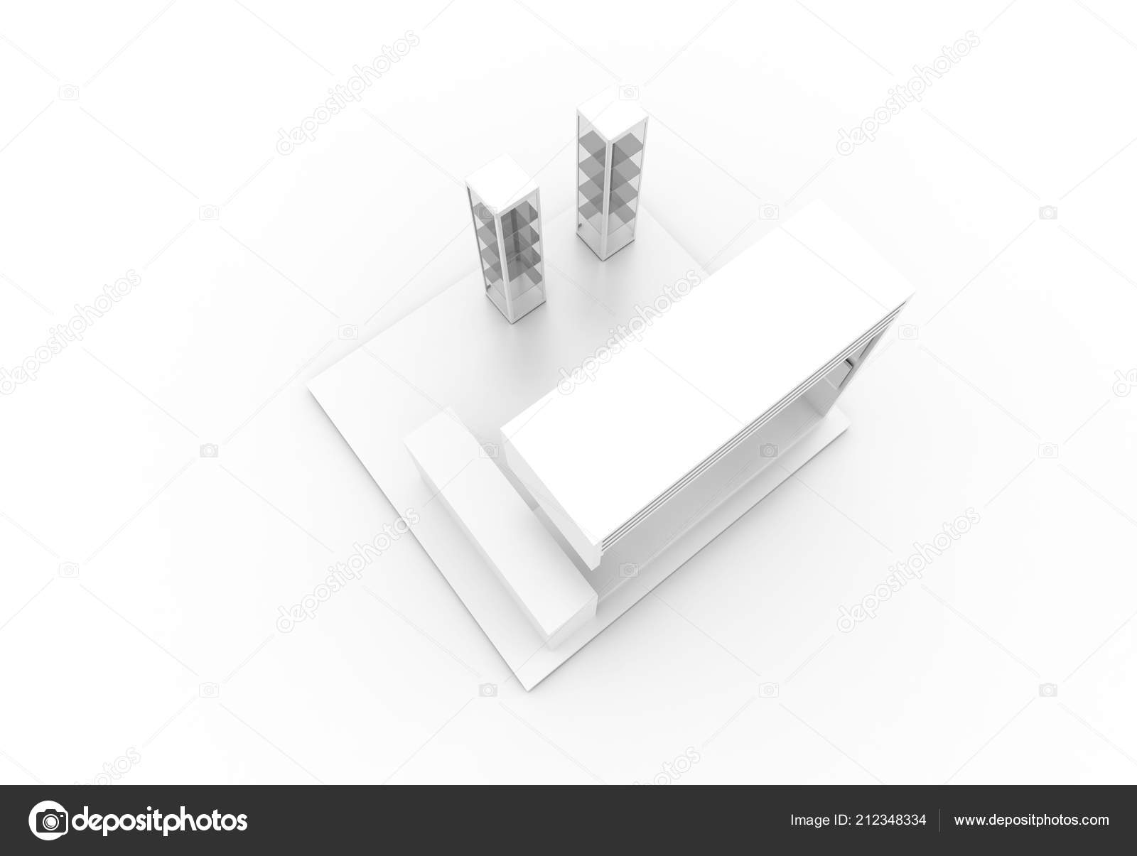 Exhibition Stand Drawing : Exhibition stand white original rendering models u2014 stock photo