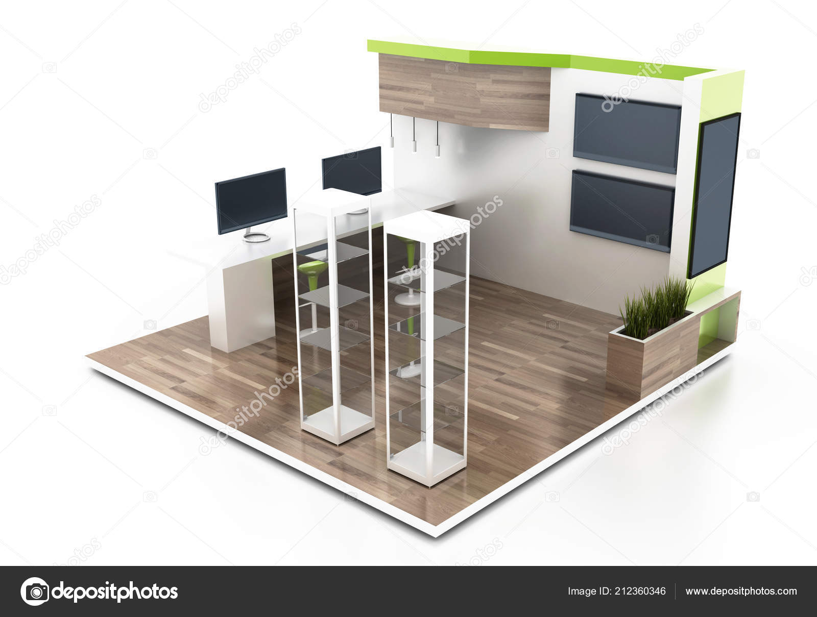 Exhibition Stand Free D Model : Exhibition stand white original rendering models u2014 stock photo