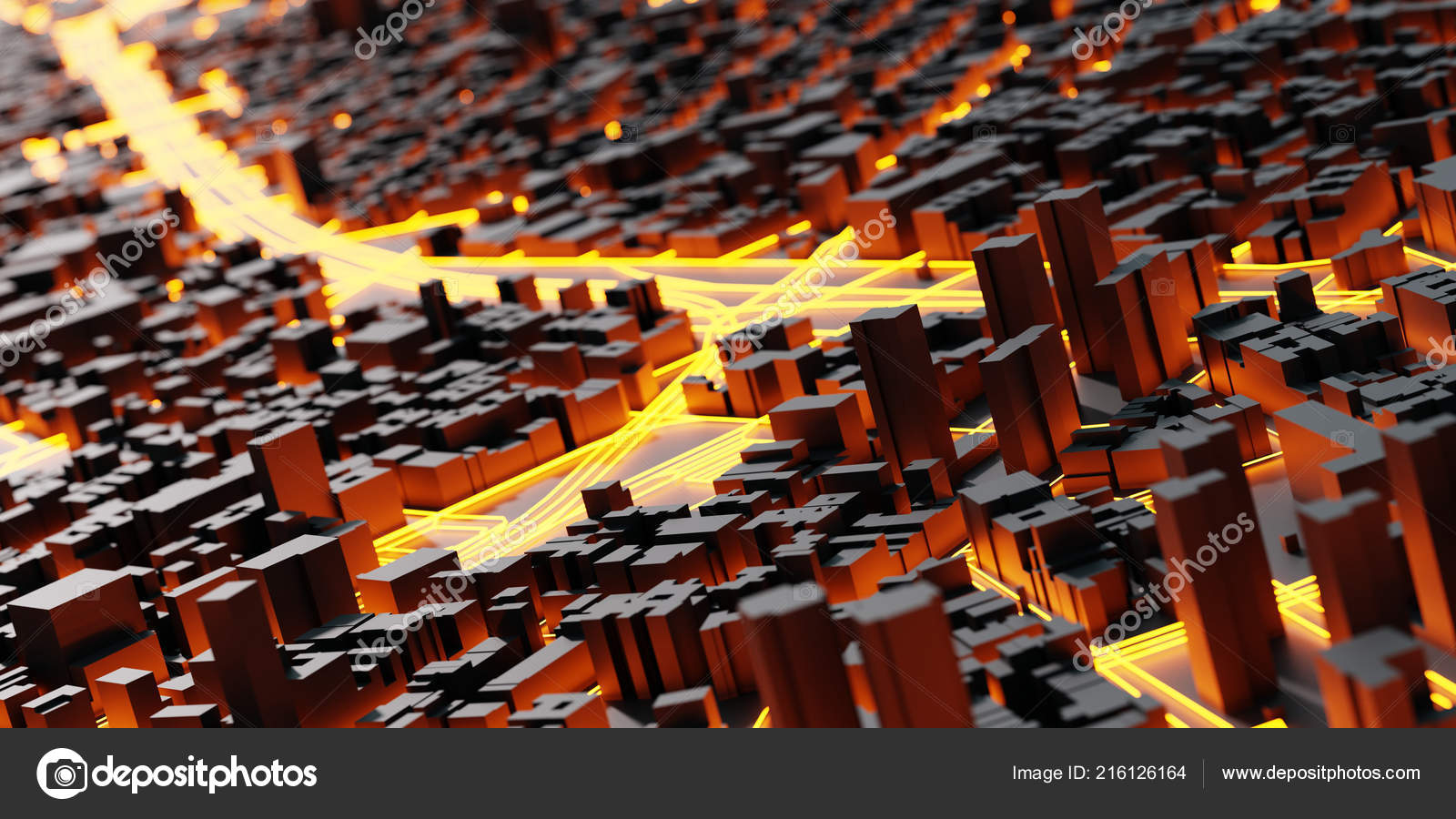 Golden Brown Urban Futuristic City Buildings Model — Stock