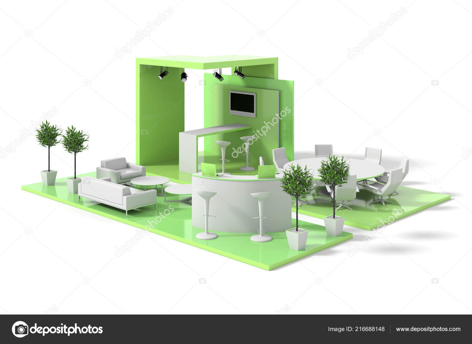 Exhibition Stand Free D Model : Green exhibition stand model white background u2014 stock photo